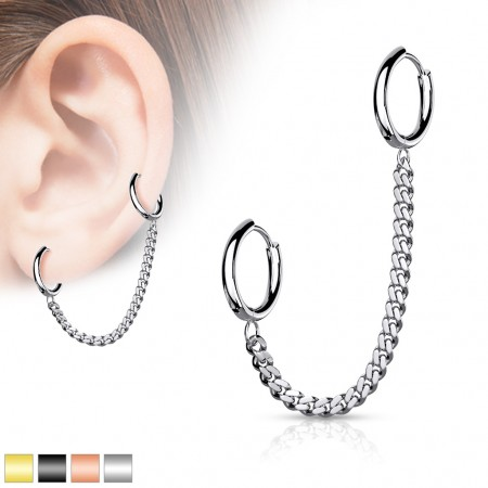 Piercing cartilage chain with two click rings