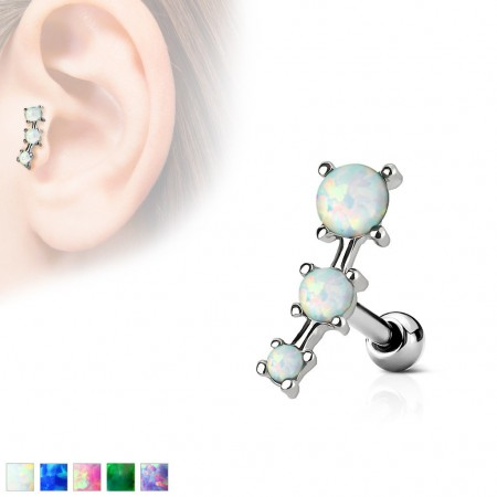 Cartilage stud with 3 ascending opal beads