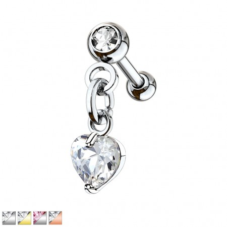 Cartilage ear stud with dangling coloured crystal heart