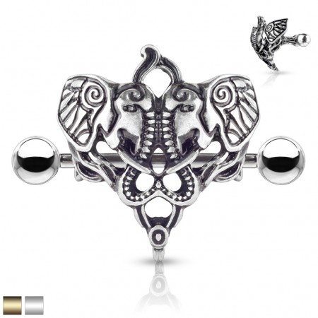 Nipple bar piercing with dual antique style elephants