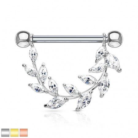Nipple ring with clear marquise cut jeweled vine