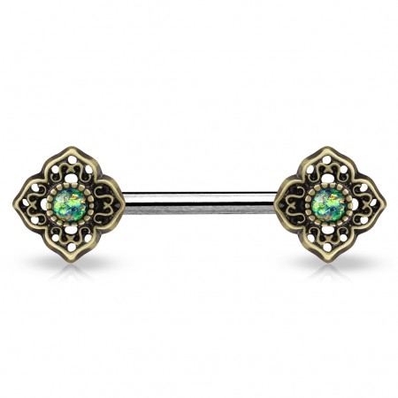 Vintage nipple bar with flower tribal and glittery opal stones - Dark Green