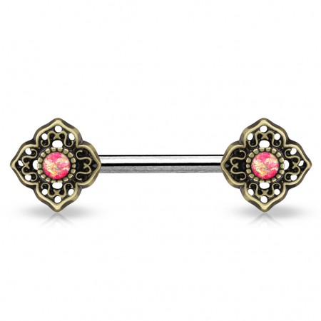 Vintage nipple bar with flower tribal and glittery opal stones - Pink
