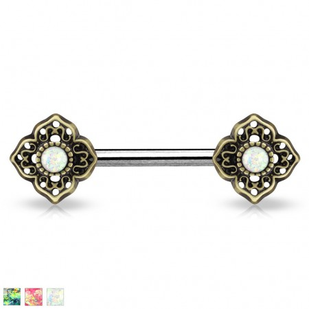 Vintage nipple bar with flower tribal and glittery opal stones