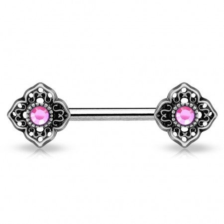 Vintage nipple bar with flowery tribal and coloured crystals - Pink