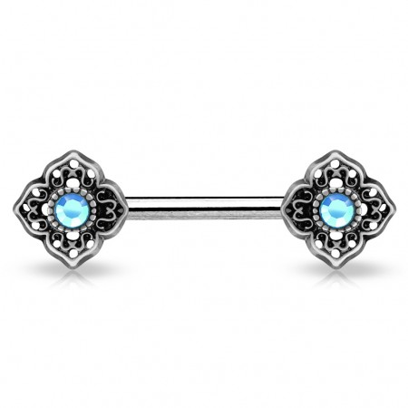 Vintage nipple bar with flowery tribal and coloured crystals - Aqua