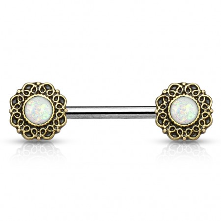 Vintage nipple studs with filigree and glitter opal gems - White
