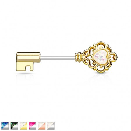 Key shaped nipple piercing with coloured heart gem