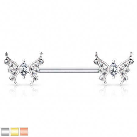 Jewel paved butterfly adorned nipple bar with marquise gem