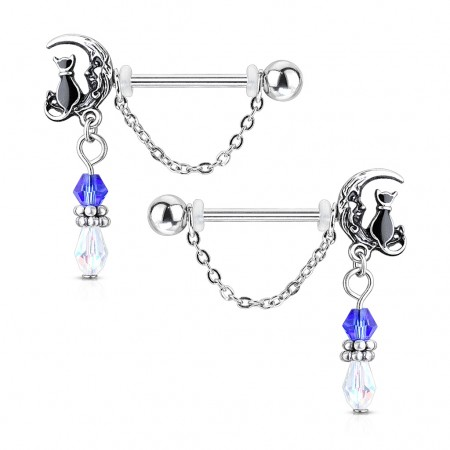 Pair of cats sitting on moon with dangle nipple bars