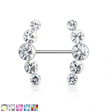 Nipple bar with five round coloured crystals