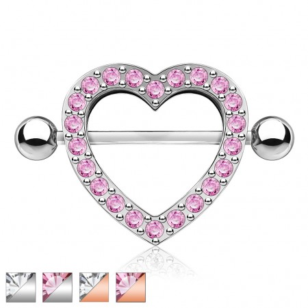 Nipple piercing with heart and coloured diamond