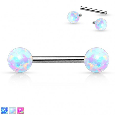 Nipple bars with internally threaded opal balls