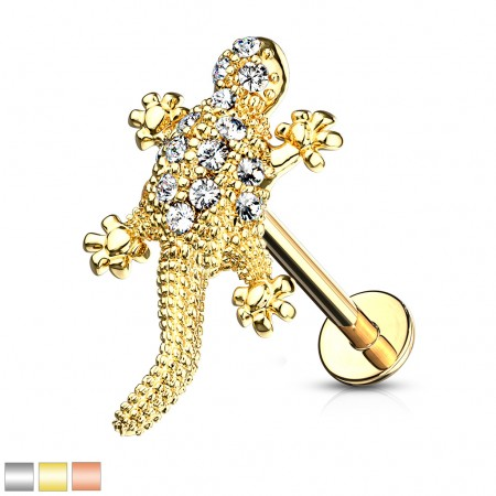 Internally threaded labret piercing with crystalised lizard figurine