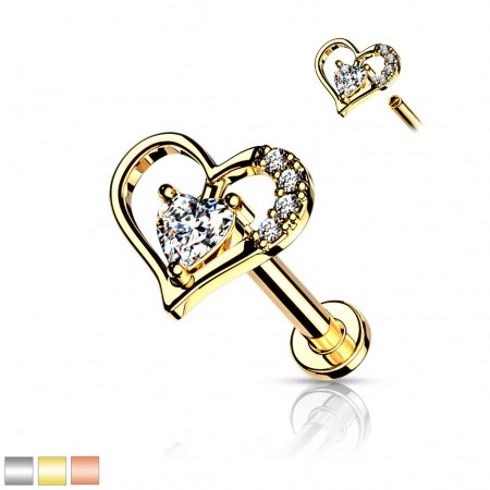 Internally Threaded Labret with crystal paved heart-shaped top