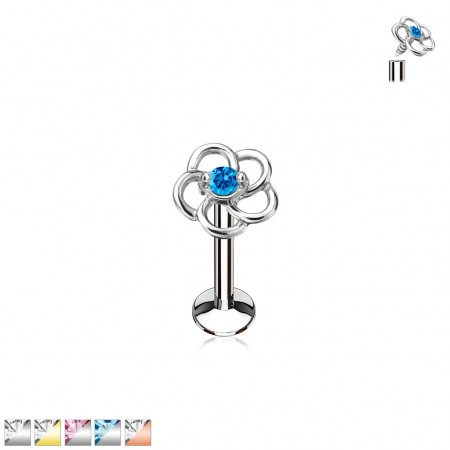 Labret with hollow flower top and coloured crystal