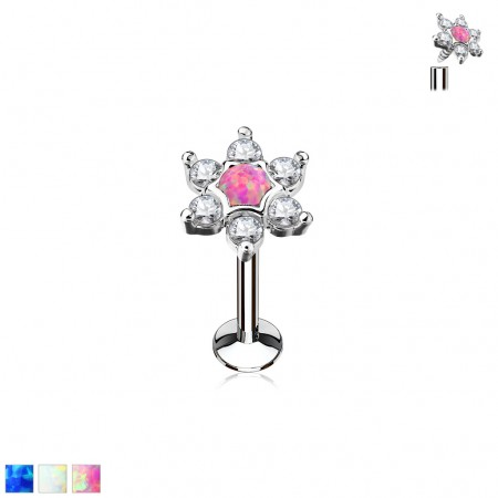 Internally threaded labret with flower and opal gems