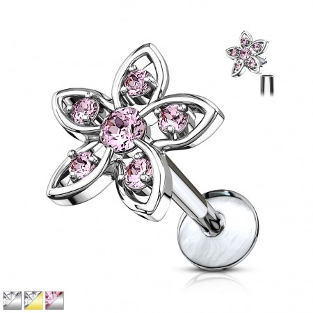 Internally threaded labret with flower with round crystals