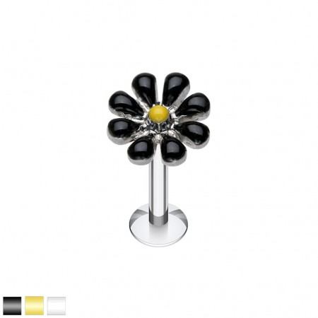 Silver labret with coloured spring flower top
