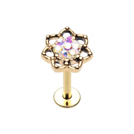 Labret with lotus flower and aurora borealis crystals
