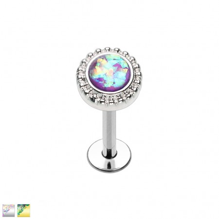 Coloured labret with round top and opal stone
