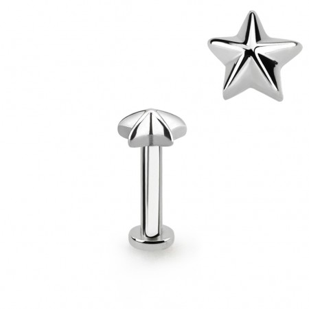 Labret with star shaped top and 2.5 mm base