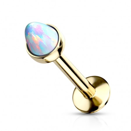 Coloured internally threaded labret with spiked opal stone – 8 mm – 3 mm – Gold / Opal White