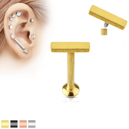 Coloured internally screwed labret piercing with top bar of 2 x 6 mm