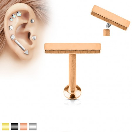 Coloured internally screwed labret piercing with 2 mm x 9 mm bar