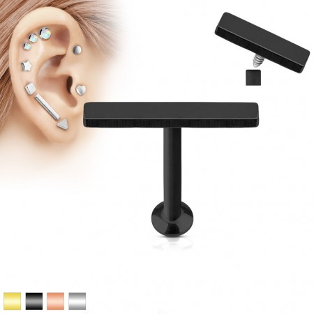 Coloured internally screwed labret piercing with 2 mm x 12 mm bar