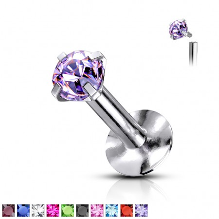 Internally threaded labret with flat round crystal