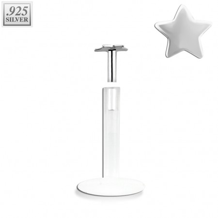 Bioflex labret with a silver shaped star top