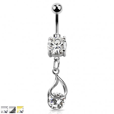 Coloured belly bar with snap fit round crystal