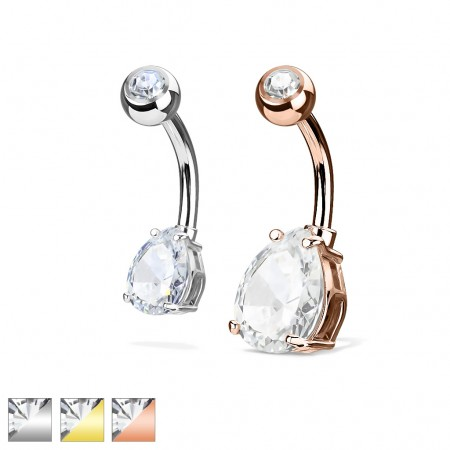 Belly bar with clear teardrop shaped crystal