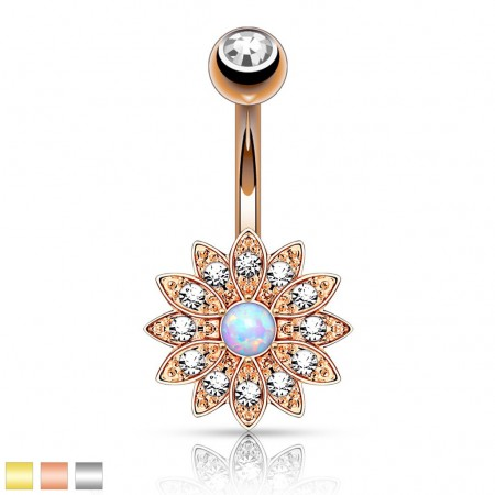 Stylish Belly Piercing with flower and opal stone
