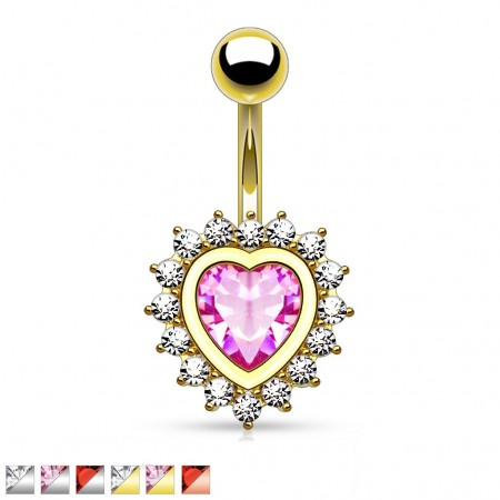 Belly ring with crystal heart and crystal outline