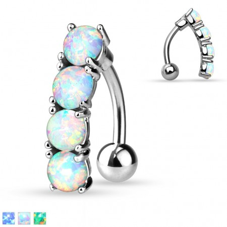 Reverse belly ring with 4 opal stones