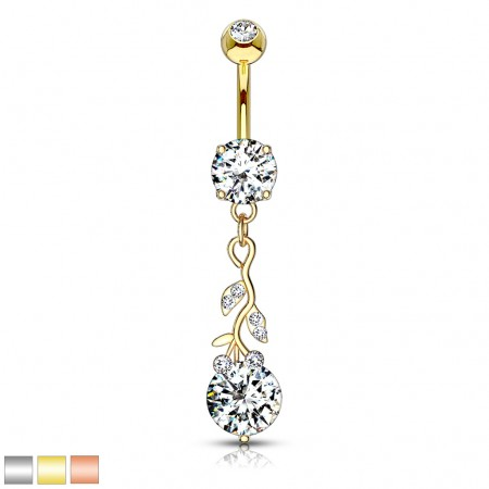 Coloured belly bar with leaf dangle and big clear gem