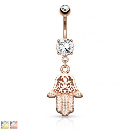 Gold belly bar with crystalised Hamsa hand