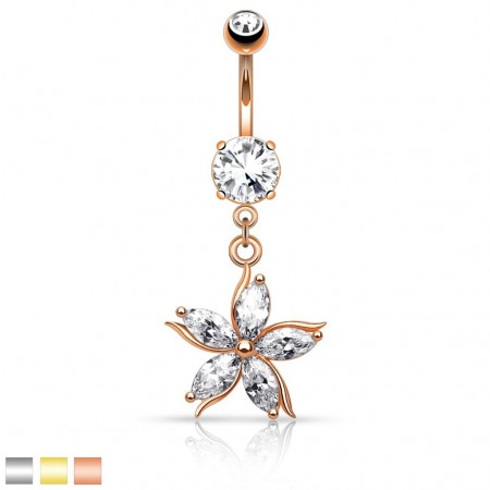 Belly button piercing with flower of 5 crystals