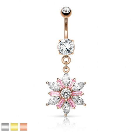 Belly bar with large pink flower of crystal