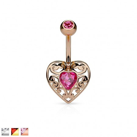 Belly button piercing with heart and shiny gemstone