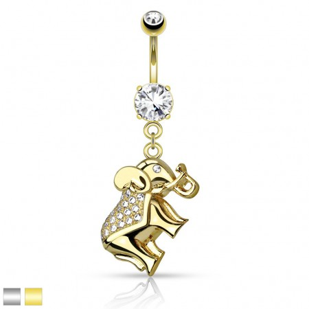 Fancy belly ring with crystalised Elephant dangle