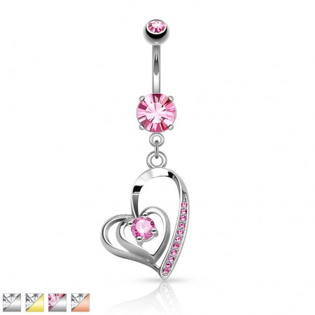 Belly piercing with double heart shaped dangle