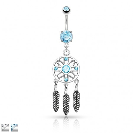 Belly bar with dangling feathers and dream catcher