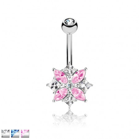 Belly bar with square and flower of crystals