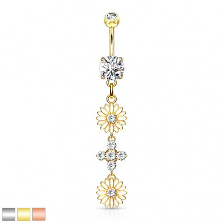 Dangling enamel flowers and crystals belly bar