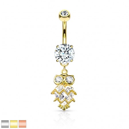 Coloured belly bar with dangling crystal wise owl