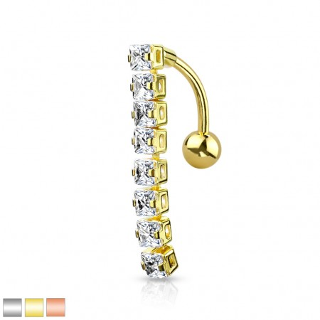 Coloured reversed belly bar with dangling square crystals
