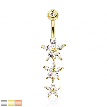 Coloured belly bar with 3 dangling descending flowers